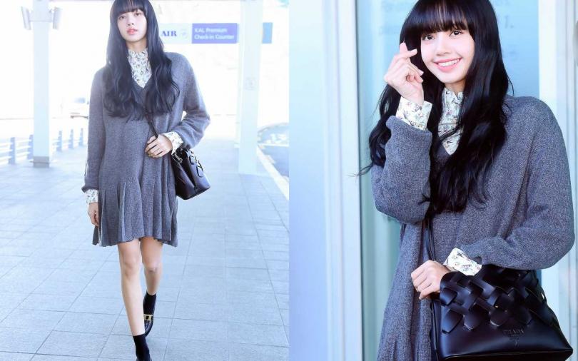 Prada灰色V領針織洋裝/75,000元、印花襯衫/34,000元、黑色皮革編織包/93,500元、拋光小牛皮樂福鞋/39,500元(圖/品牌提供)