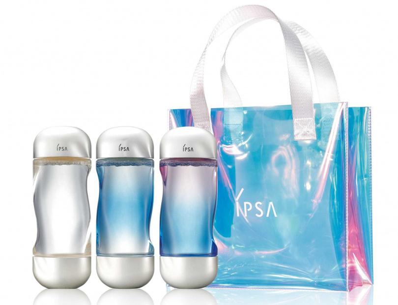 IPSA流金霓彩限定組(每人限購3組)/3,400元  內含美膚微整機能液(霓彩版) 200ml*3+流金霓彩提袋。(圖/品牌提供)