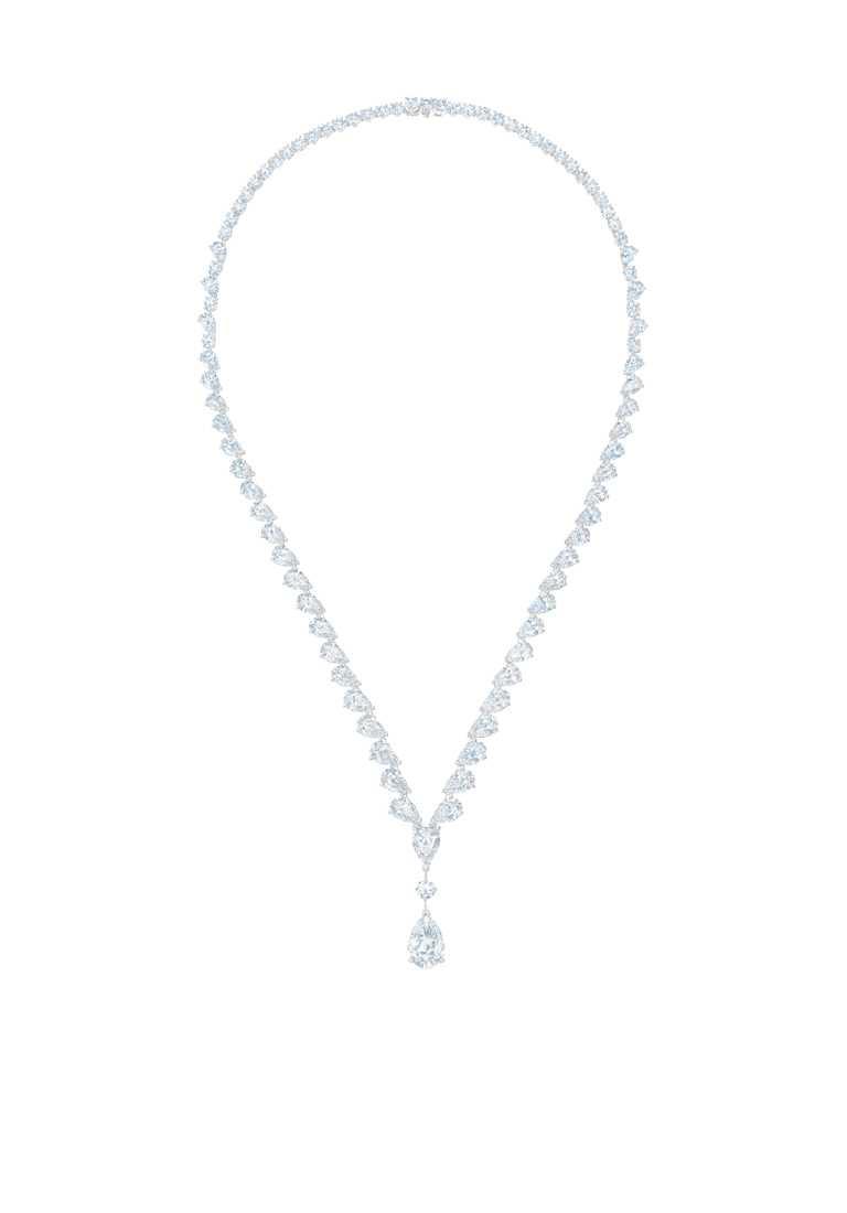 DE BEERS「Drops of Light」系列高級珠寶,18K白金鑲嵌鑽石項鍊╱15,300,000元。(圖╱DE BEERS提供)