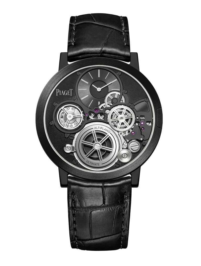 PIAGET「Altiplano Ultimate Concept終極概念腕錶」,鈷基合金錶殼,黑色鱷魚皮錶帶╱12,300,000元。(圖╱PIAGET提供)