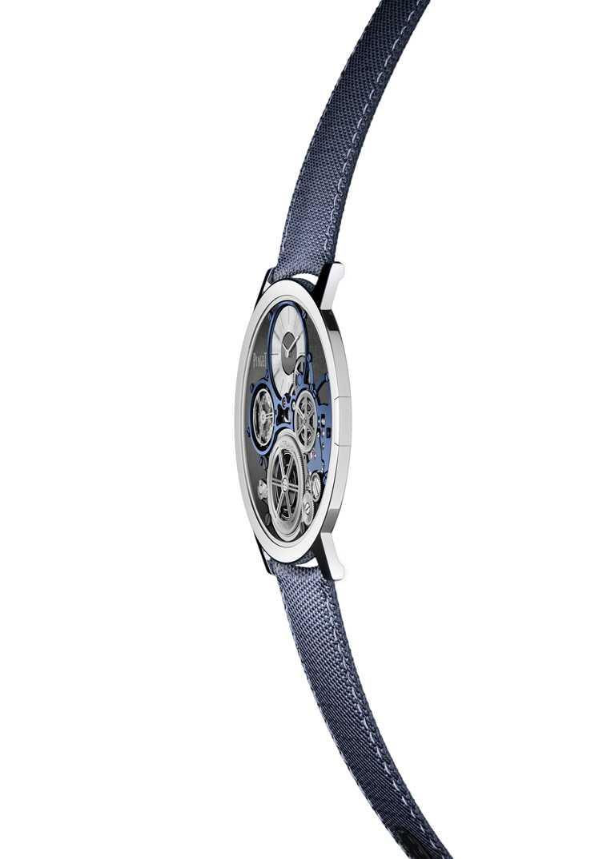 PIAGET「Altiplano Ultimate Concept終極概念腕錶」,連同搭配的錶帶都必須要求至極纖狀態。(圖╱PIAGET提供)