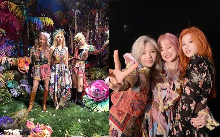 圖騰、花卉、鮮豔色彩、流蘇等各種波希米亞風的元素,都可以在這次Twice回歸舞台上看到。(圖/twicetagram IG)