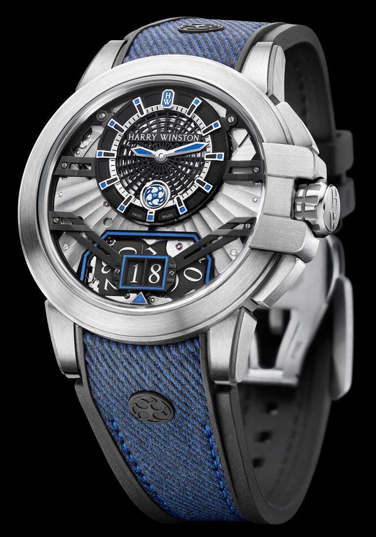 HARRY WINSTON「Project Z11自動腕錶」,Zalium鋯合金錶殼,32mm,35顆寶石╱740,000元。(圖╱HARRY WINSTON提供)