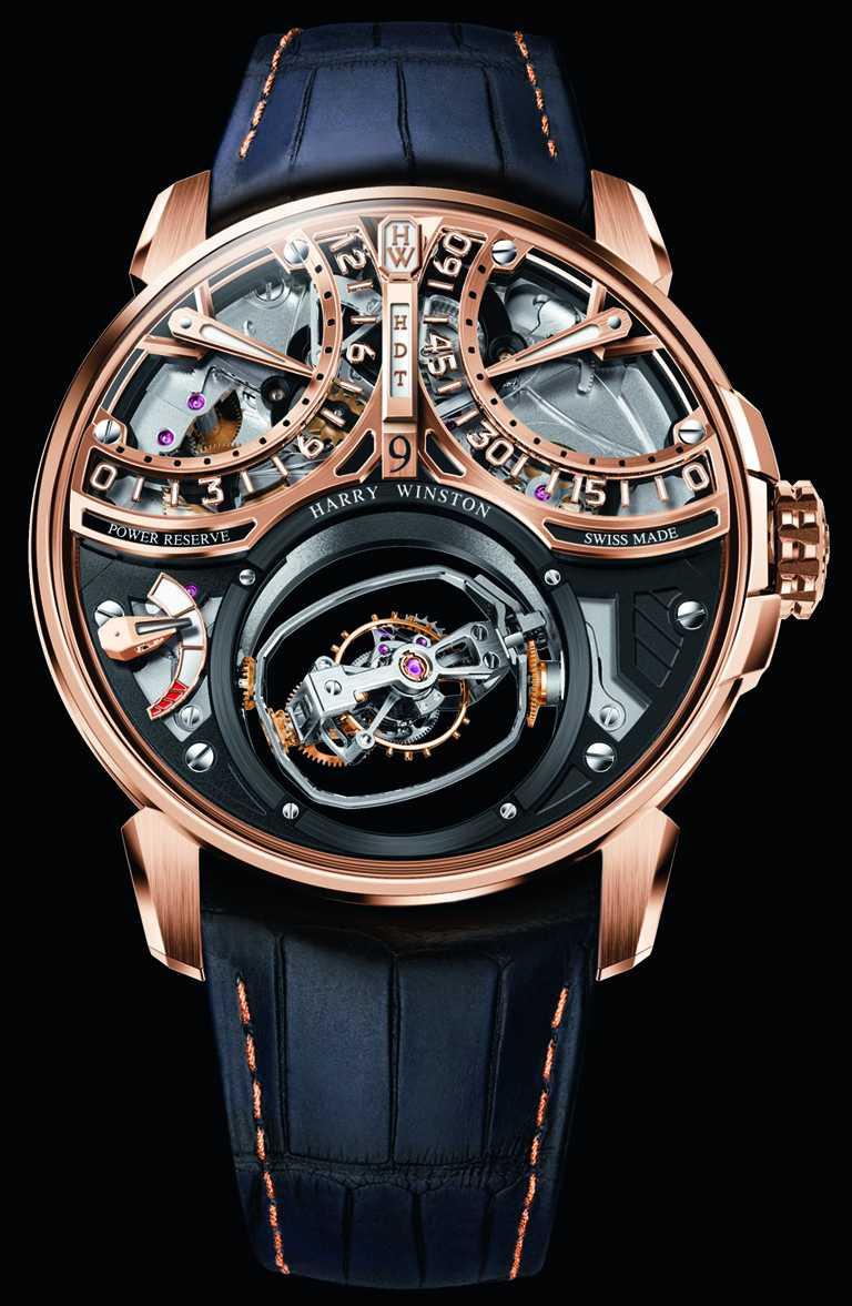 HARRY WINSTON「Histoire de Tourbillon史詩陀飛輪系列」9號腕錶,18K玫瑰金錶殼,46.5mm,58顆寶石╱20,420,000元。(圖╱HARRY WINSTON提供)