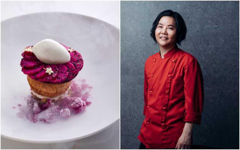 黎俞君主廚與她的料理「火龍果泡芙/香提奶油/椰子冰沙」。(圖/鹽之華提供)