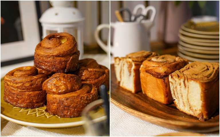 Purebread Bakery「可頌外殼加香橙」肉桂捲(左)、珠寶盒「少女心糖霜粉」肉桂捲。(圖/Cutaway卡個位提供)