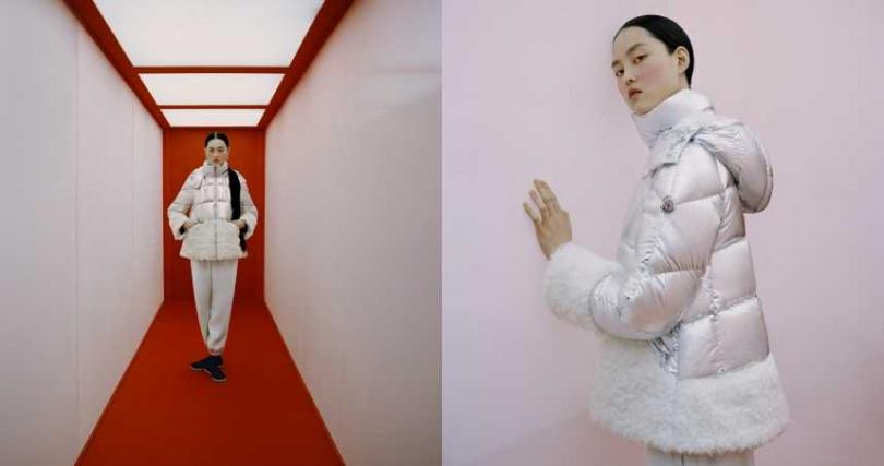 攝影師張家誠從中國武術、練功服和傳統中式建築中汲取靈感,再以影像重新詮釋。仿羊羔絨飾邊的銀色光澤塗層羽絨外套,寬袖與寬襬設計呼應中式傳統服裝。(圖/品牌提供)