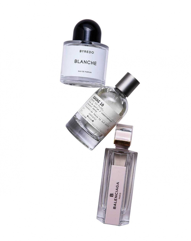 (上至下)BYREDO 返樸歸真淡香精Blanche 50ml/約5,000元;LeLabo GAIAC 10東京限定淡香精 100ml/約15,000元;B.BALENCIAGA Skin香水 75ml/4,500元(圖/莊立人攝)