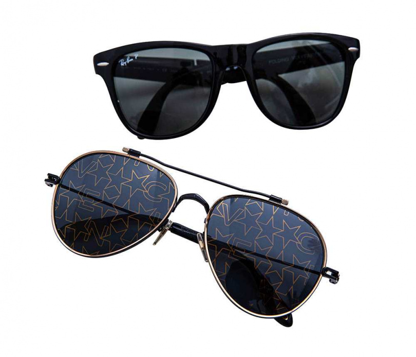 Ray-Ban 經典摺疊太陽眼鏡 約4,000元(上);GIVENCHY 太陽眼鏡 價格店洽(下)(圖/莊立人攝)