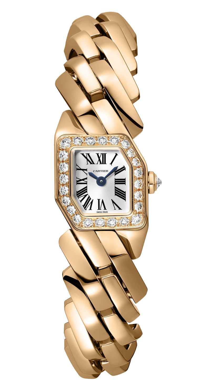 CARTIER「Maillon de Cartier」系列腕錶,玫瑰K金款╱955,000元。(圖╱CARTIER提供)