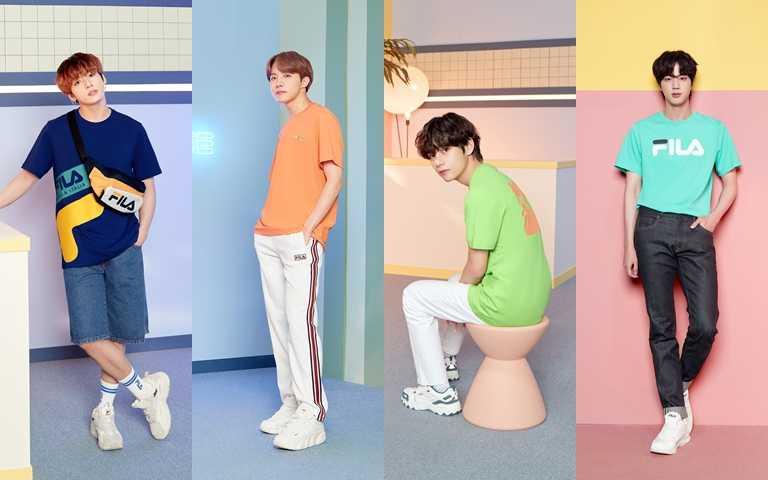 BTS七人七色休閒穿搭,各顯獨特時尚魅力。(圖/FILA)