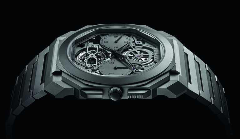 BVLGARI「OCTO Finissimo」超薄鏤空陀飛輪自動計時腕錶,鈦金屬錶殼,42mm,限量50只╱4,450,000元。(圖╱BVLGARI提供)