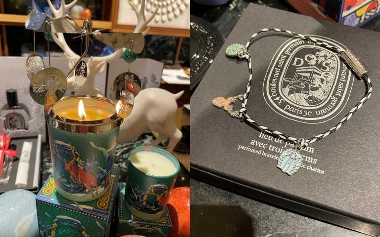 每年都很受歡迎的旋轉燭罩,今年首次推出銀色款;(右圖)聖誕節特別推出佩戴在手腕上的香氛吊飾手環!(圖/黃筱婷攝影)