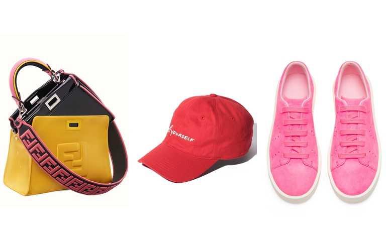 推薦你可以這樣買>>FENDI Mini Peekaboo Combo/209,700元、agnes b.紅色手寫標語棒球帽/2,880元、CAMPER Courb系列螢光粉紅休閒鞋/6,680元(圖/品牌提供)