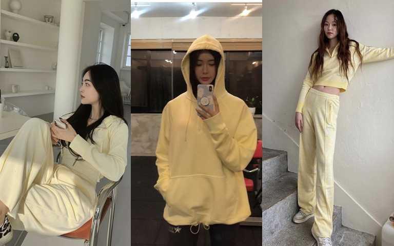 穿膩了黑白灰基本配色,像這樣的黃色運動套裝很有新鮮感又好上手喔。(圖/IG@jinjin0402、IG@__chomegyu__、IG@mlnhe)