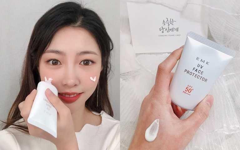 RMK的UV防護乳50可是櫃上一直以來的口碑熱賣品,很多顧客都說沒用過這麼高係數但卻能夠這麼水感的防曬。(圖/IG@minjjeong_k)
