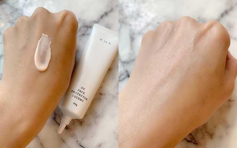 RMK UV防護乳(透光勻色型) SPF35‧PA++++ 60g/1,300元  利用珊瑚色澤和稜鏡銀色珠光修飾暗沉跟膚色不均,不想特別上妝出門時,直接單擦這條就能讓氣色變好。(圖/吳雅鈴攝影)
