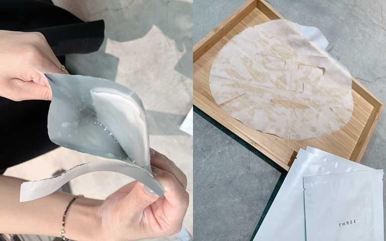 打開包裝袋會發現有機面膜紙能完整承載16ml精華,不怕營養成分被留在袋子裡,一點一滴都不浪費。(圖/吳雅鈴攝影)