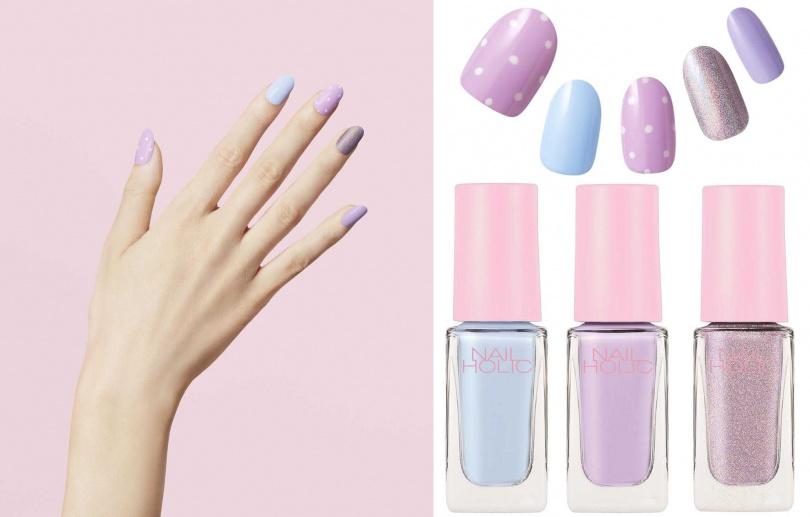 NAIL HOLIC將於6月登場的限定色選柔彩蜜糖指甲油,粉嫩柔和的馬卡龍配色,直接跳色擦塗就很好看。(圖/品牌提供)