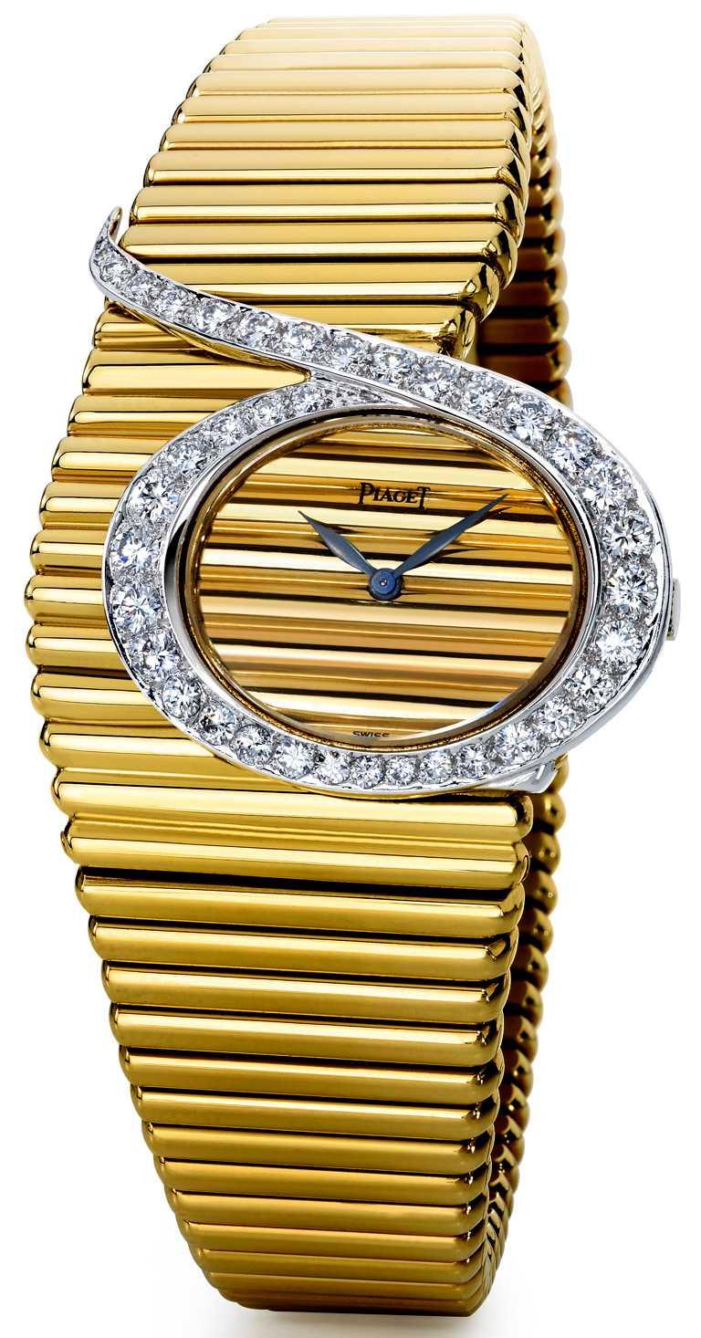 製作於1973年,黃K金錶殼,鑲嵌38顆總重約1.58克拉美鑽,搭載伯爵傳奇9P手動上鏈機芯。(圖╱PIAGET提供)