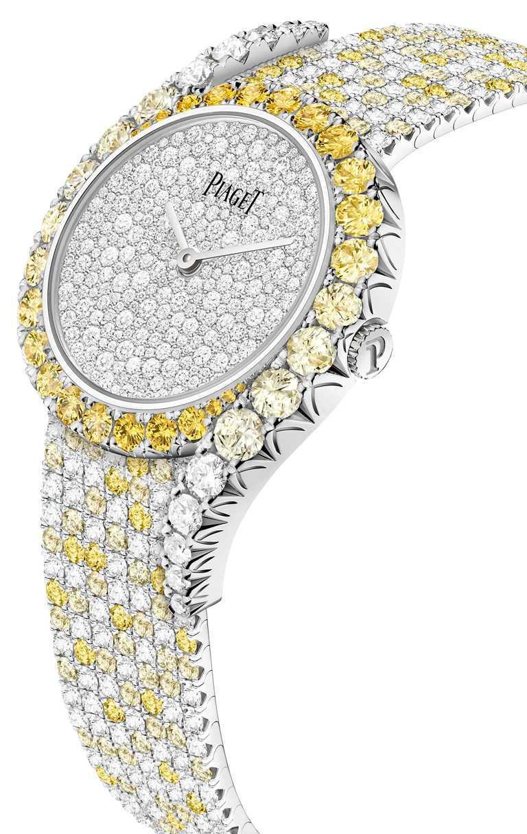 PIAGET「Limelight Gala」系列,「凌日」18K白金黃色藍寶石鑲鑽高級珠寶腕錶,限量8只╱7,100,000元。(圖╱PIAGET提供)
