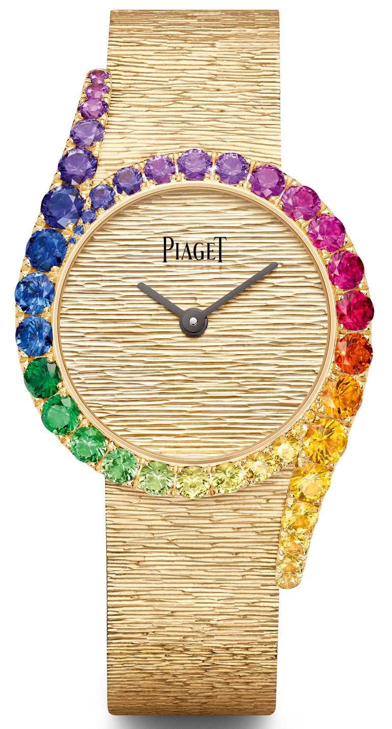 PIAGET「Limelight Gala」系列,18K玫瑰金彩虹錶圈鑲鑽高級珠寶腕錶,錶圈鑲嵌5顆總重約0.91克拉綠色沙弗萊石、37顆總重約7.90克拉紅、橘、黃、藍、靛藍及紫色藍寶石╱3,110,000元。(圖╱PIAGET提供)