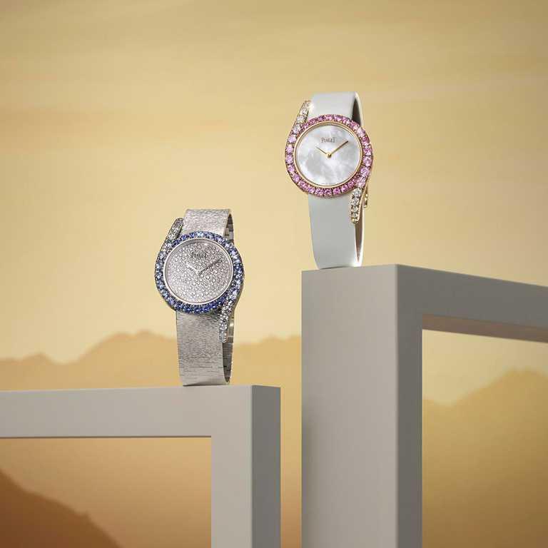 PIAGET「Limelight Gala」系列全新高級珠寶腕錶,(左)「晨光」18K白金藍寶石鑲鑽高級珠寶腕錶,限量18只╱4,080,000元;(右)「暮色」18K白金粉紅藍寶石鑲鑽高級珠寶腕錶,限量50只╱1,940,000元。(圖╱PIAGET提供)