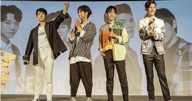 陳廷軒(左起)、卞慶華、徐鈞浩、吳承洋上月出席《HIStory3-圈套》見面會。(圖/CHOCO MEDIA ENTERTAINMENT(CME)提供)