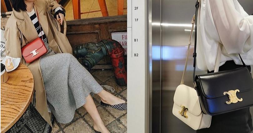 CELINE TRIOMPHE精心為亞洲女孩做背帶調整設計,使其成為許多亞洲女孩的御用包款。(圖/翻攝自Instagram @madisonavenuespy、@ carolynjylu)