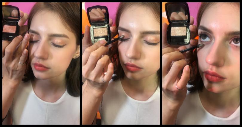 彩妝師劉人瑋先用#32偏珊瑚粉色上在眼窩,再用比較閃的金色41在局部加強。(圖/黃筱婷攝)