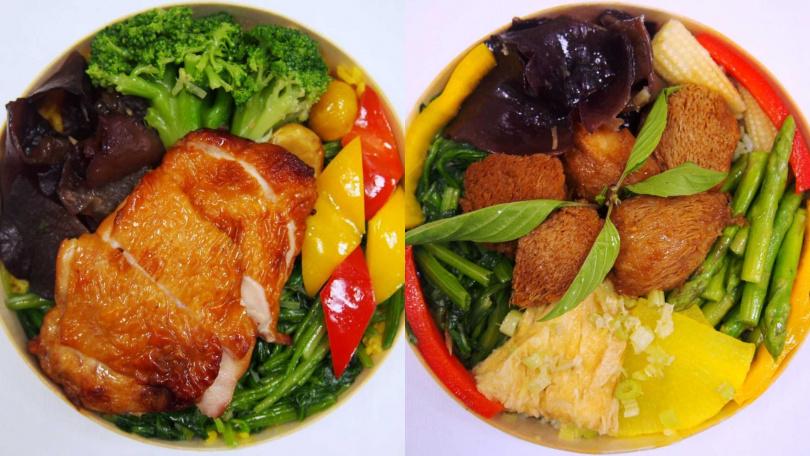 台北的推出紹興雞腿排(左)及素食者食用的香椿蔬食便當(右)。(圖/臺灣鐵路管理局)