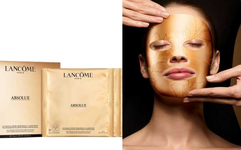 LANCOME絕對完美24K黃金玫瑰霜面膜一盒5片/6,500元(圖/品牌提供)