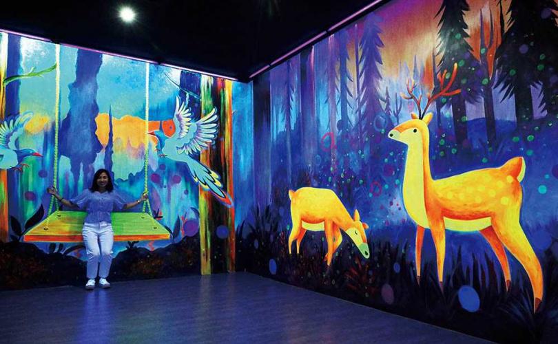 使用夜光顏料繪製的「夜光隧道」區,讓各種台灣原生動物格外耀眼。(圖/于魯光攝)