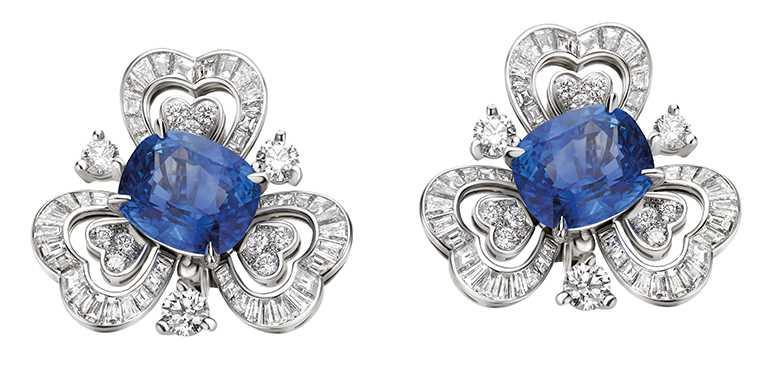BVLGARI頂級藍寶石與鑽石耳環╱斯里蘭卡藍寶石、花式與階梯形切割鑽石、6顆圓形明亮切割鑽石。(圖╱BVLGARI提供)