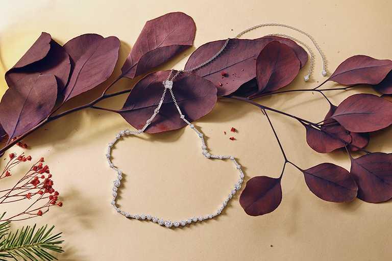 DE BEERS「Arpeggia」白金鑽石項鍊(可轉換Choker頸鍊或髮飾)╱1,205,000元。(圖╱DE BEERS提供)