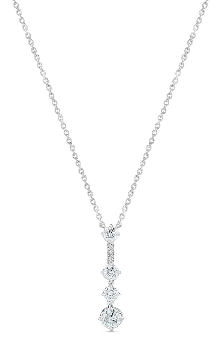 DE BEERS「Arpeggia」白金鑽石吊墜項鍊╱166,000元。(圖╱DE BEERS提供)
