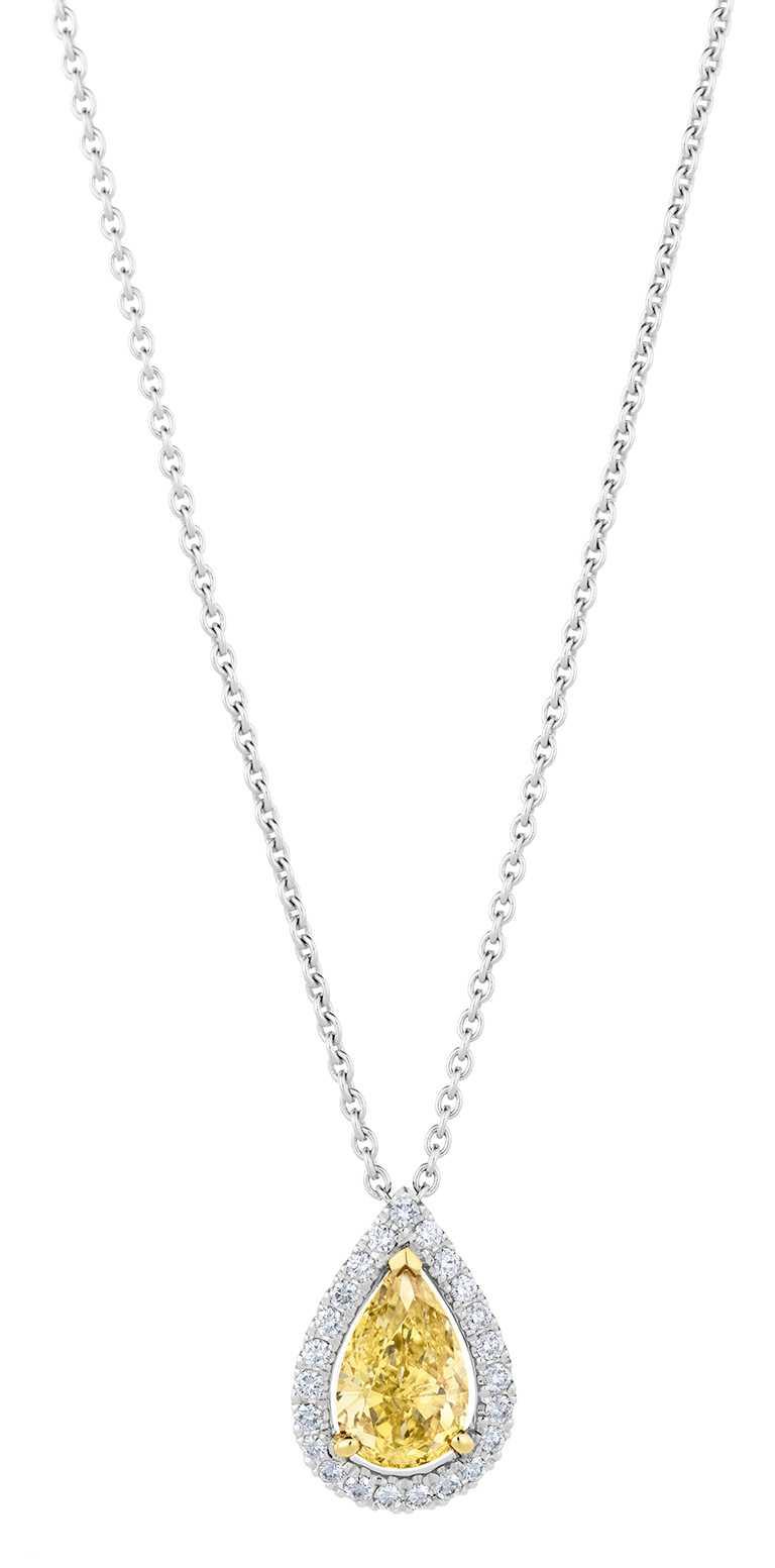 DE BEERS「Aura」梨形切割黃鑽吊墜項鍊╱270,000元起。(圖╱DE BEERS提供)