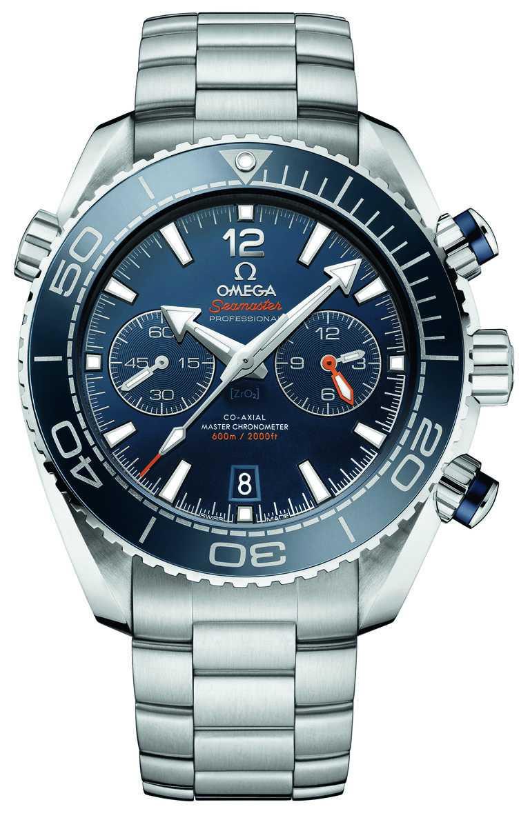 OMEGA「Seamaster Planet Ocean」600米大師天文台計時碼錶,精鋼錶殼、錶鍊,9900型同軸擒縱自動上鏈機芯,45.5mm╱273,000元。(圖╱OMEGA提供)