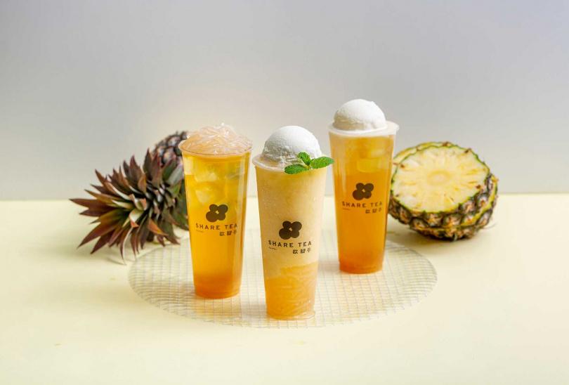 3款新鳳梨飲品。(圖/SHARE TEA歇腳亭提供)
