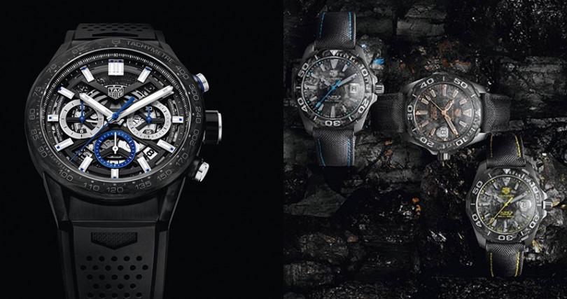 (左)TAG HEUER Carrera Carbon Chronograph Heuer 02,錶殼:不鏽鋼材質/錶徑43mm/碳纖維錶圈,機芯:02自動上鍊/振頻每小時28,800次/儲能80小時,功能:小三針/日期/計時,防水:100米,其他:限量750只,定價:252,400元。(右)TAG HEUER Aquaracer Carbon Fiber錶殼:鈦合金材質/錶徑41mm/碳纖維錶圈,機芯:Calibre 5自動上鍊/振頻每小時28,800次/儲能38小時,功能:大三針/日期,防水:300米,定價:132,900元。