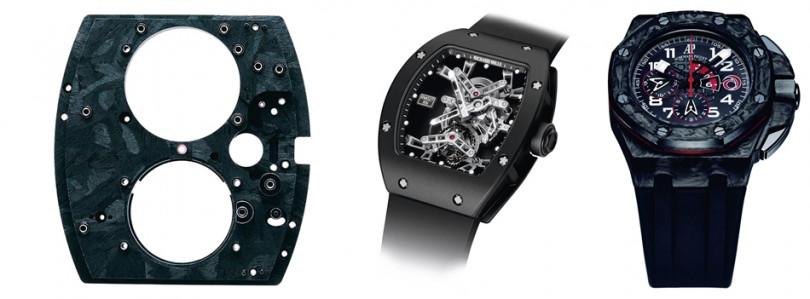 (左)Richard Mille 在2003年率先以碳纖維製成RM 006陀飛輪腕錶的機芯基板。(中)Richard Mille 為西班牙網球球王納達爾打造的RM 027陀飛輪腕錶,隨著他在各大賽事奪冠而名揚國際,讓大家真正見識到碳纖維的實用效果。(右)愛彼Royal Oak Offshore Alinghi Team在2007年問世,是業界第一個採用新一代鍛造碳纖維技術的腕錶。