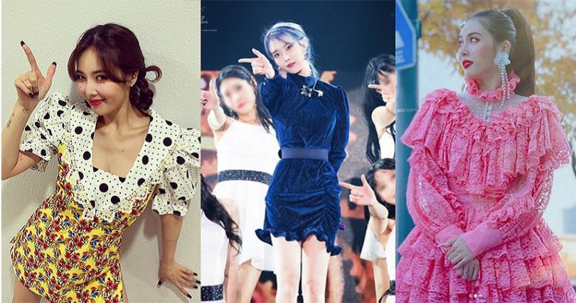 泫雅配合歌曲主題,常以花洋裝或是多層次蕾絲現身。(圖/langnlu IG,hyunah_aa IG)