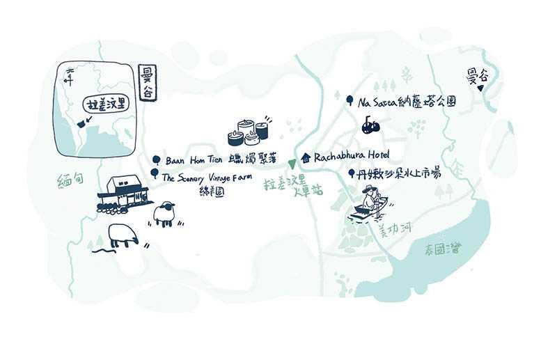 曼谷前往拉差汶里地圖。(圖/陳家榆製)
