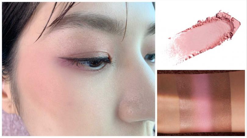這個眼妝就是用#櫻花柔粉的左排3色眼影畫出來的。甚至臉上的腮紅也可選用同樣的粉色眼影來當頰彩,一物多用好划算。(圖/品牌提供、吳雅鈴攝影)