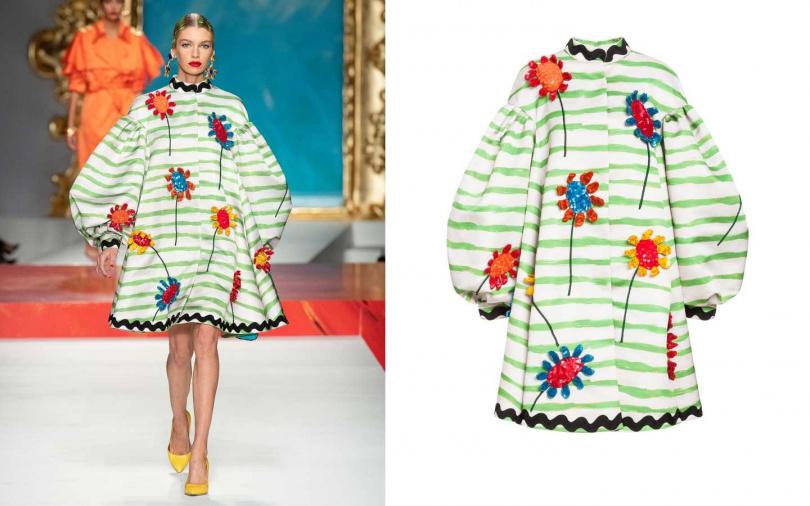 俏皮的手繪與花朵加上俏麗的傘狀大衣剪裁,讓人重溫小時候。MOSCHINO 立體花卉條紋外套/價格未定(圖/品牌提供)