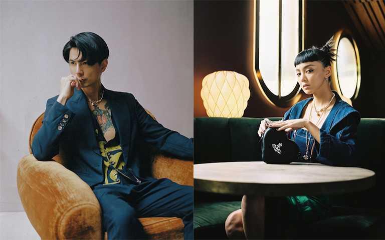 男女都可用的浪漫搖滾土形還珍珠項鍊,這次潮模李函跟男友Jun都在IG曬出配戴照。(圖/junchiu1012 IG,kiwileehan IG)