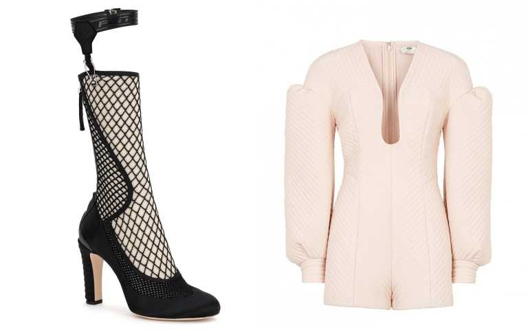 編輯推薦類似穿搭(右)FENDI粉紅造型連身褲/100,000元;(左)FENDI Promenade 網眼設計高跟鞋/48,500元(圖/FENDI提供)