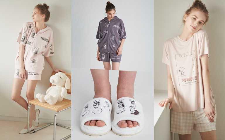 日本超高人氣居家服飾品牌「gelato pique」推出環保的PEANUTS家族新作。從居家服到拖鞋都有。(圖/品牌提供)