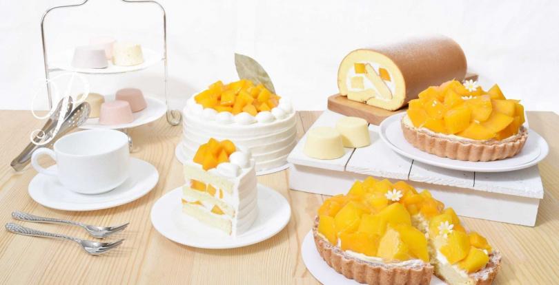 「盛夏光芒」(左起)、「芒果生乳捲」、「芒果仲夏」。(圖/Pinede彼內朵提供)