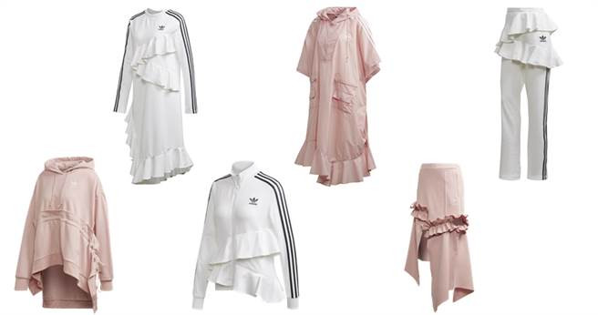 (左上起)白色洋裝NT4,690、粉色披風式上衣 NT5,290、白色Track Pants NT4,090、粉色連帽衣NT4,690、白色Track上衣NT4,690、粉色裙NT4,690(圖/adidas Originals)